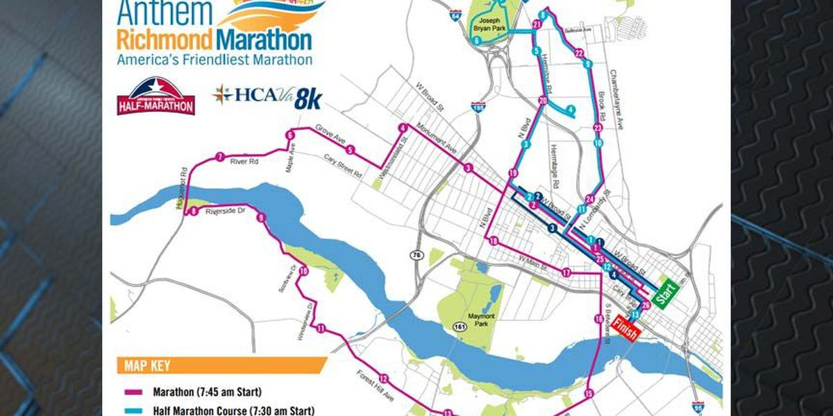 Richmond Traffic Map.Traffic Alert Richmond Marathon This Weekend
