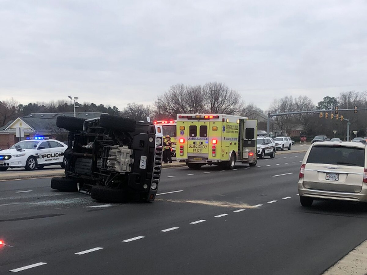 Crash in Henrico ends with vehicle on its side