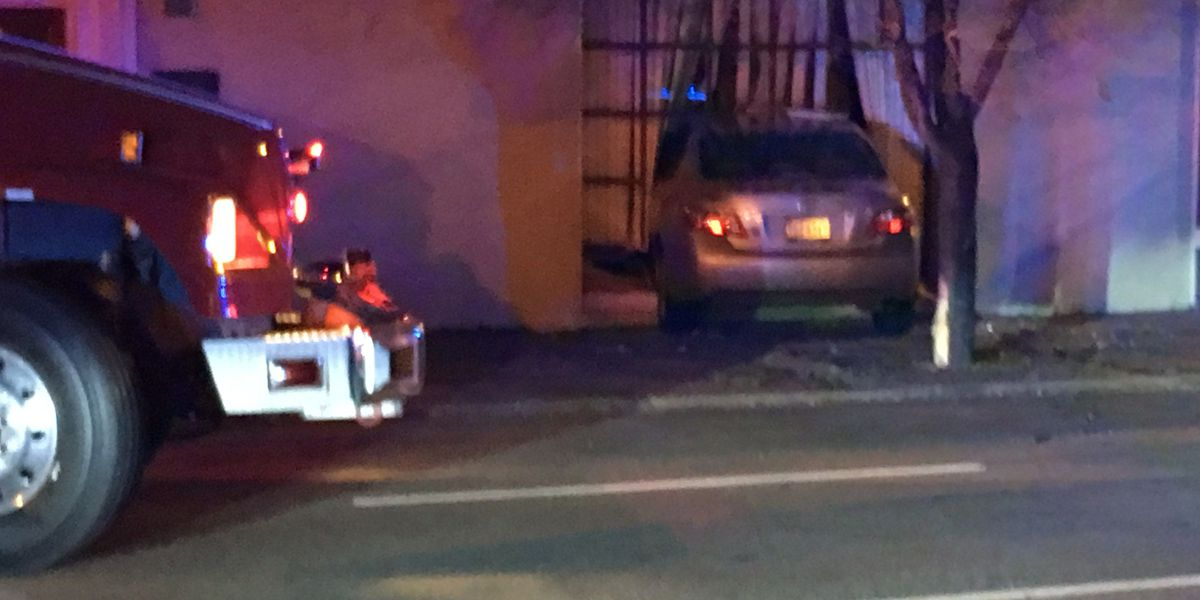 Stolen vehicle crashes into side of building