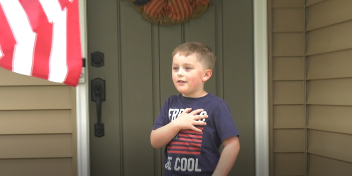 Albemarle County kindergarten student performs pledge of allegiance every day