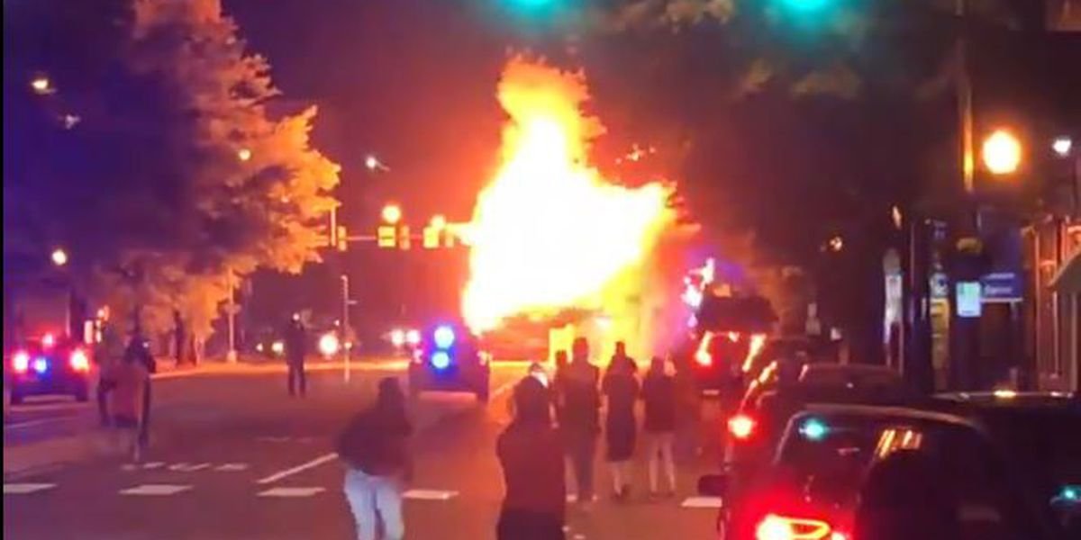 GRTC Pulse bus destroyed during overnight protests; service delayed Saturday morning