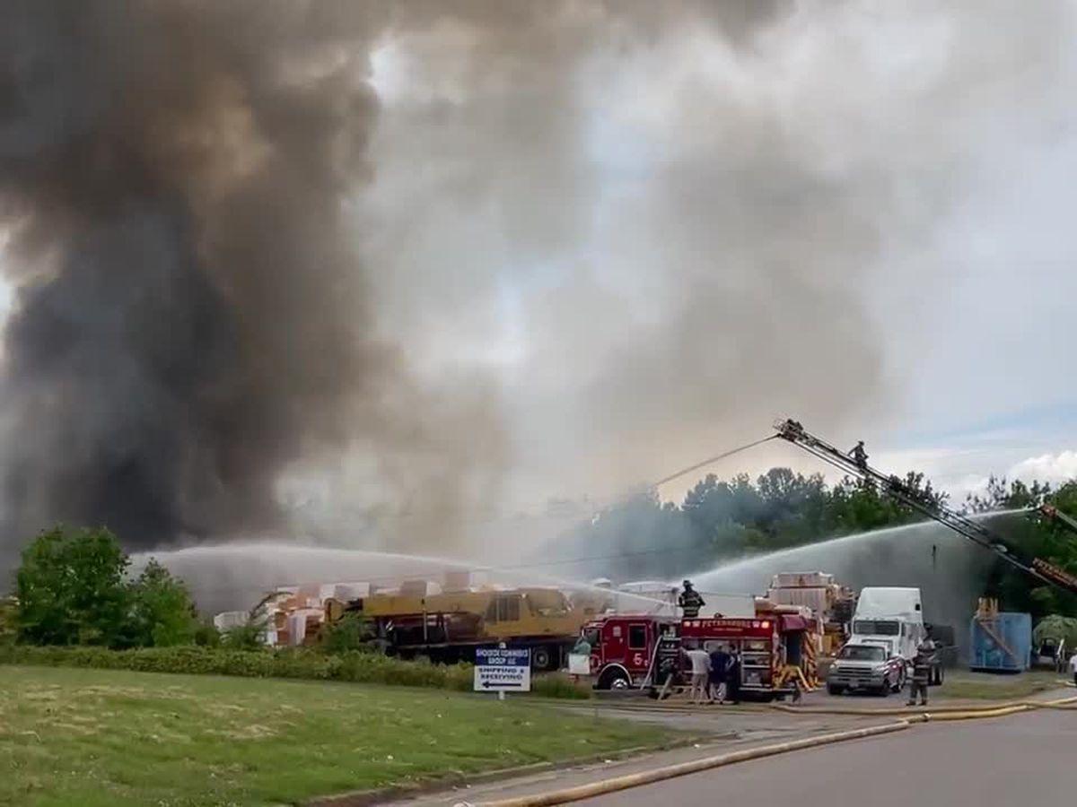 Firefighters battle large blaze at Petersburg warehouse