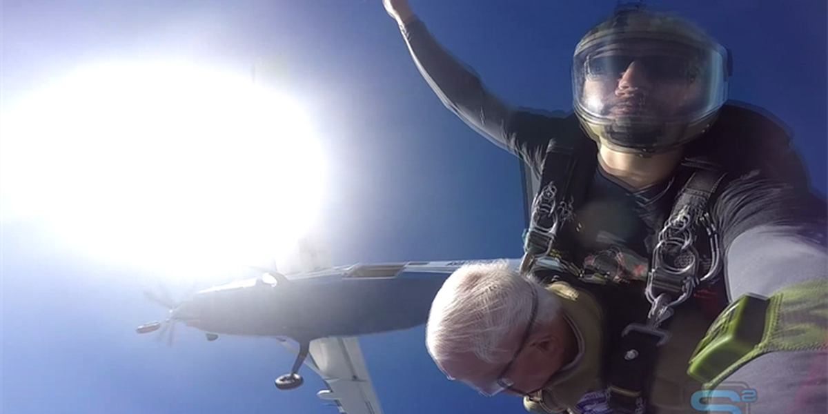 WWII vet goes skydiving for 95th birthday