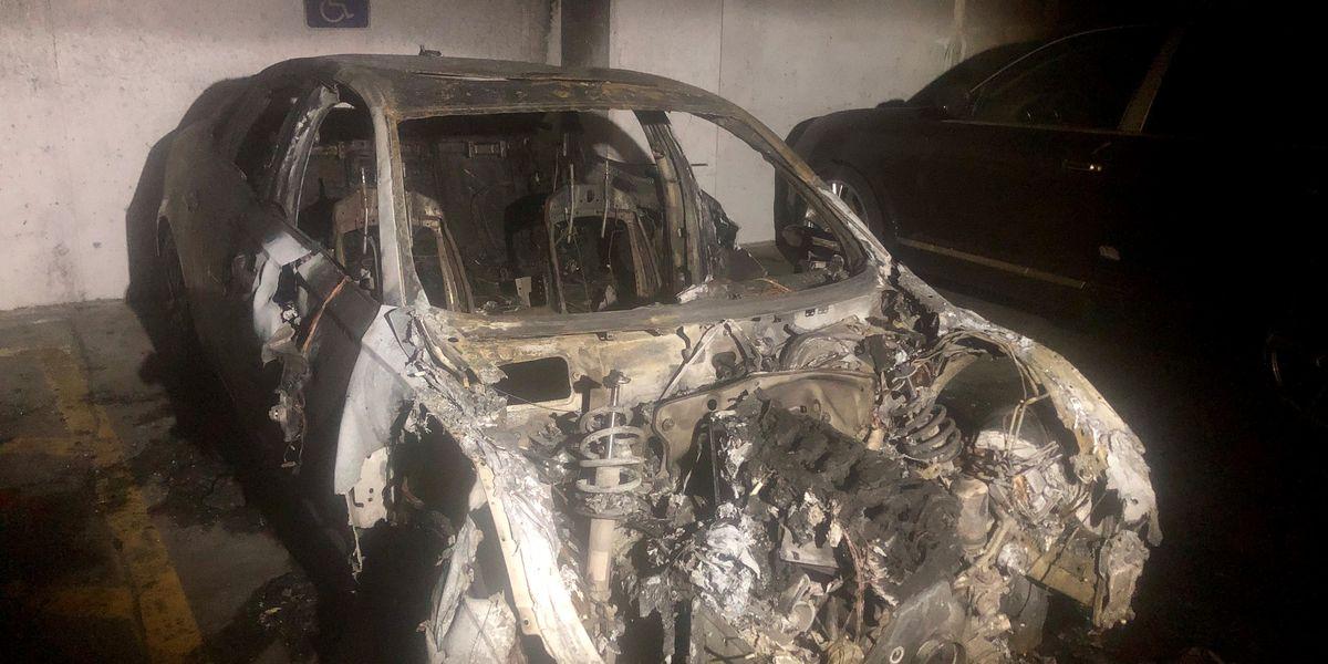 3 vehicles damaged in parking garage fire
