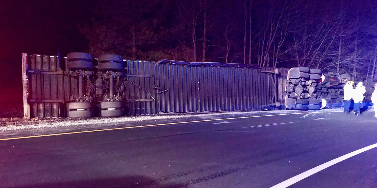 Tractor-trailer overturns, causes delays on I-295 N in Henrico