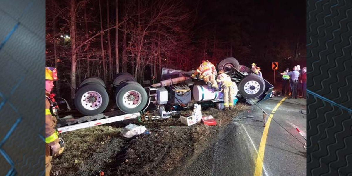 Tractor-trailer overturns on exit ramp to I-64; driver seriously injured