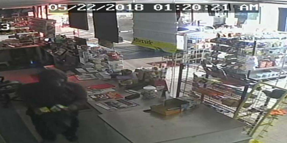 Man caught on surveillance video burglarizing gas station