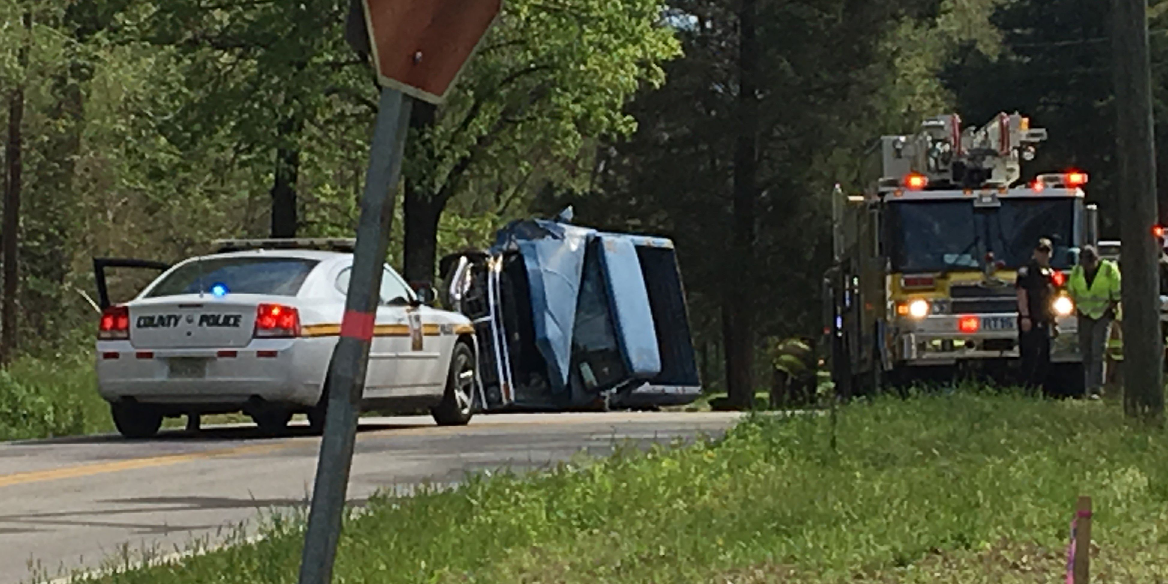 Truck strikes tree, overturns in Chesterfield