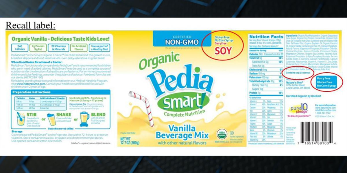 PediaSmart vanilla drink mix recalled due to undeclared milk allergen