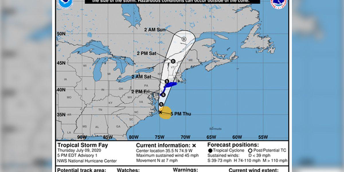 Tropical Storm Fay threatens mid-Atlantic coast, New England