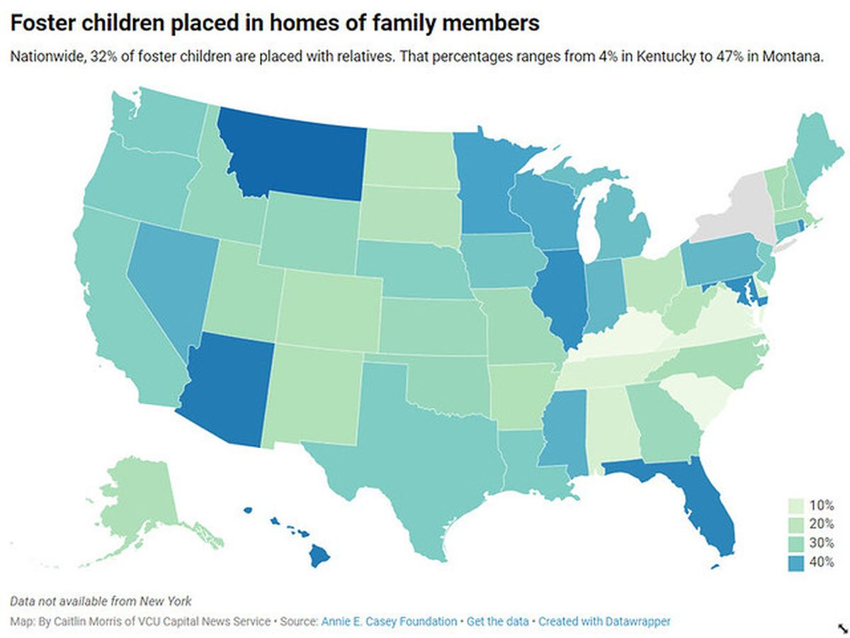 Virginia trails nation in placing foster children with relatives