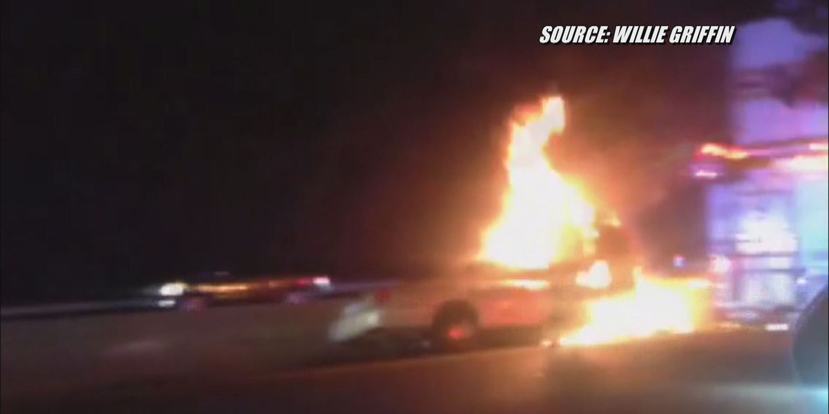 Car in flames on I-64 in Mechanicsville