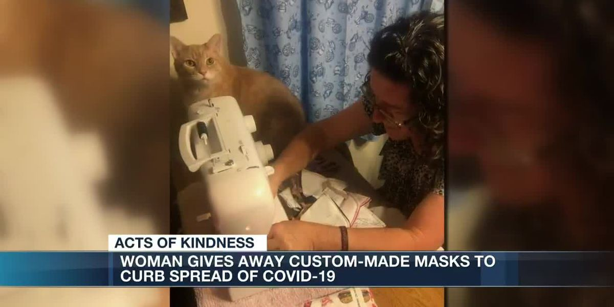 Woman gives away custom-made masks to curb spread of COVID-19