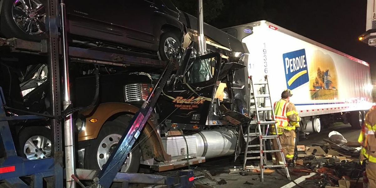 Drivers injured after 2 tractor-trailers crash on I-95 in Henrico