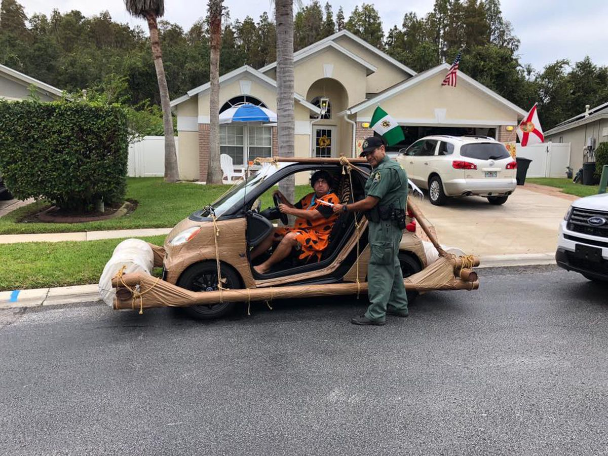 Florida man dressed as Fred Flintstone pulled over for speeding in footmobile