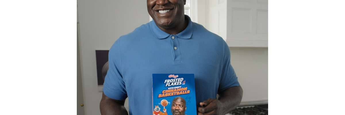 Shaq adds mini basketballs to Kellogg's Frosted Flakes