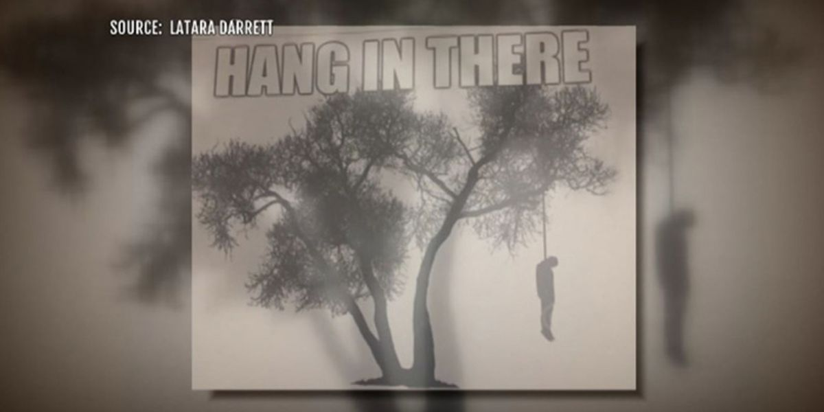 'Hang in there': Woman says boss placed lynching image on her desk