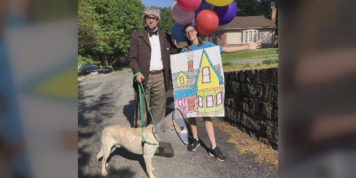 Virginia father-daughter duo make dog walking a costumed affair