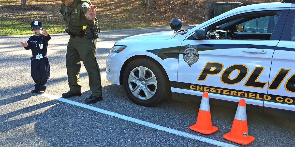 Little boy taking charge of Chesterfield police force