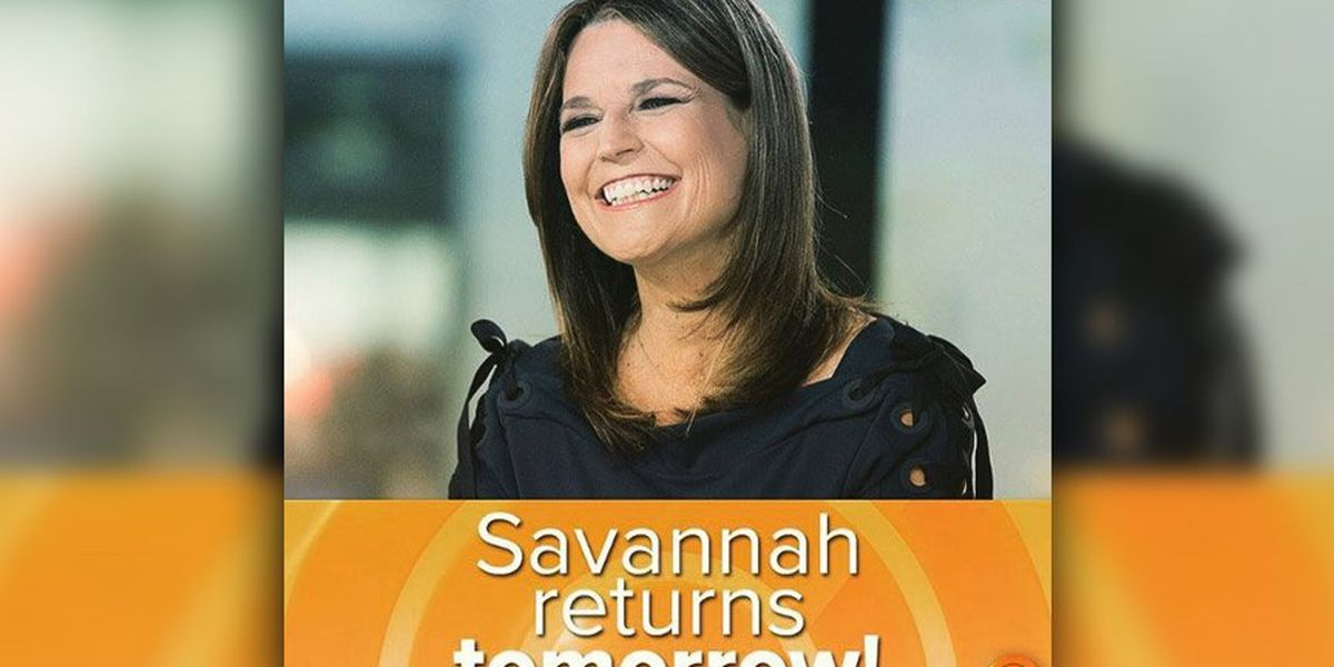 Savannah Guthrie To Return To The Today Show
