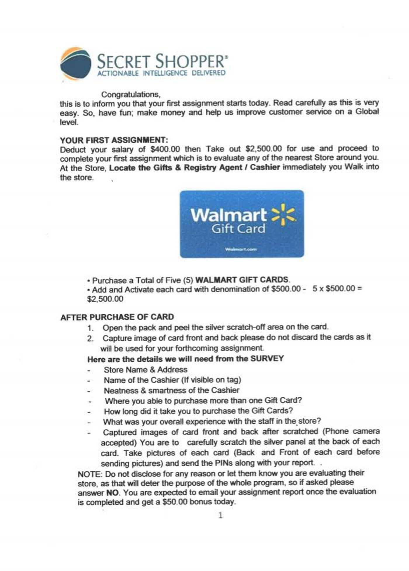 Man targeted by Walmart Secret Shopper scam, wants to warn others
