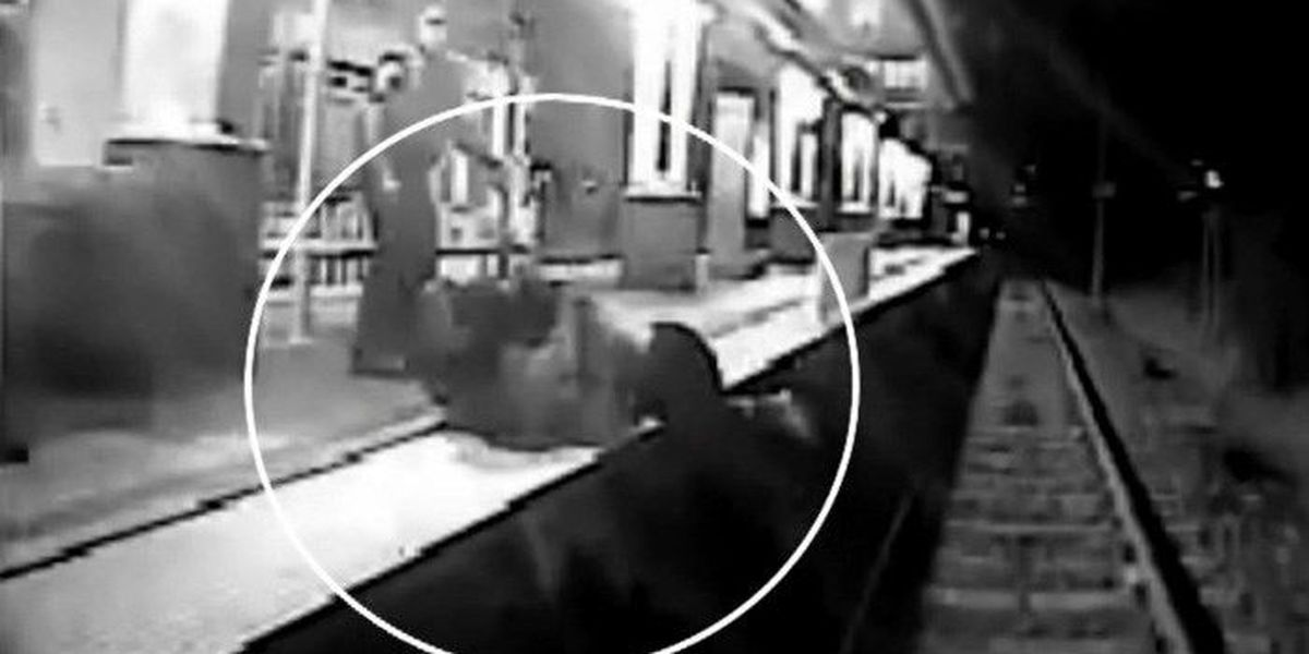 VIDEO: Man hit by train after being tackled by police