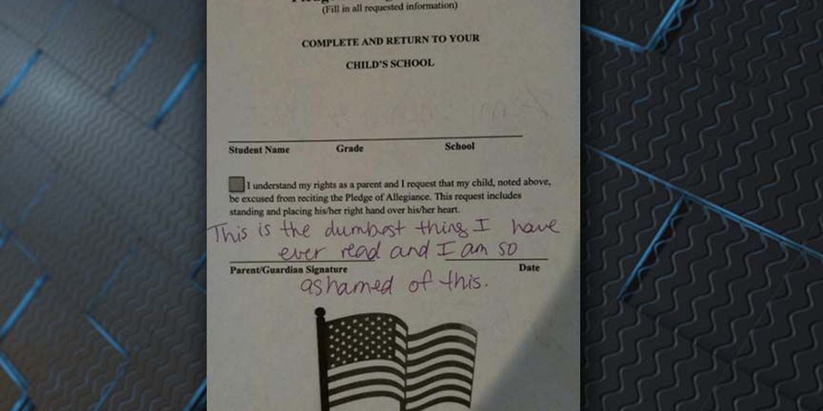 Image of school's Pledge of Allegiance opt-out form goes viral