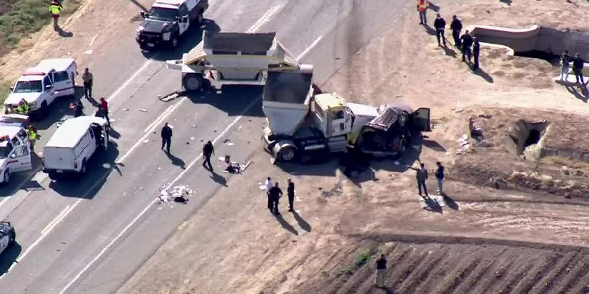 Aerial: Scene of fatal semitruck, SUV crash