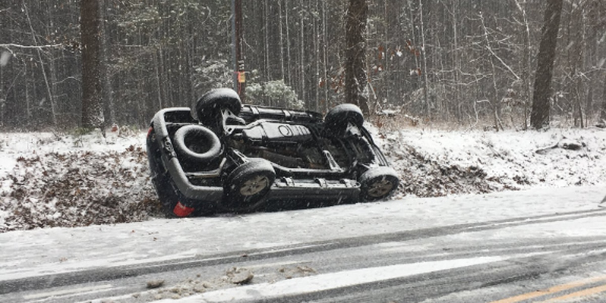 Snowy roads causing harsh travel conditions, accidents