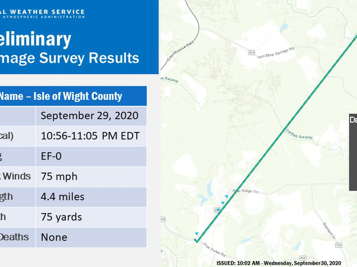 Tornado confirmed in Isle of Wight County Tuesday evening