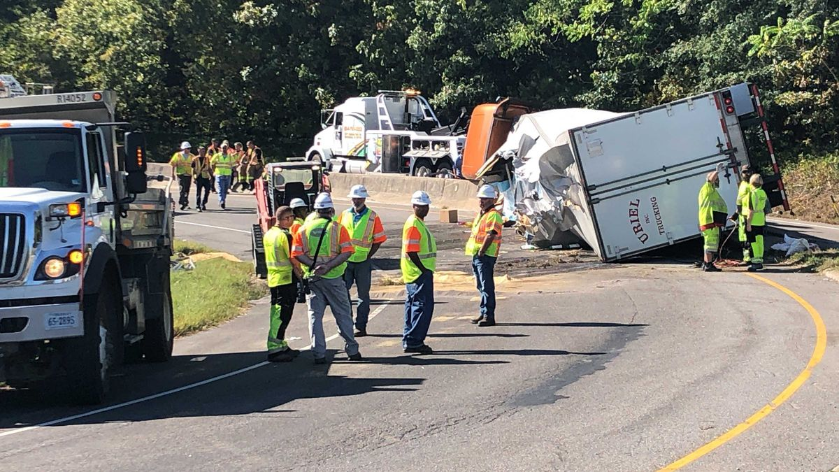 Tractor-trailer hauling liquid soap overturns at Chippenham, Route 1