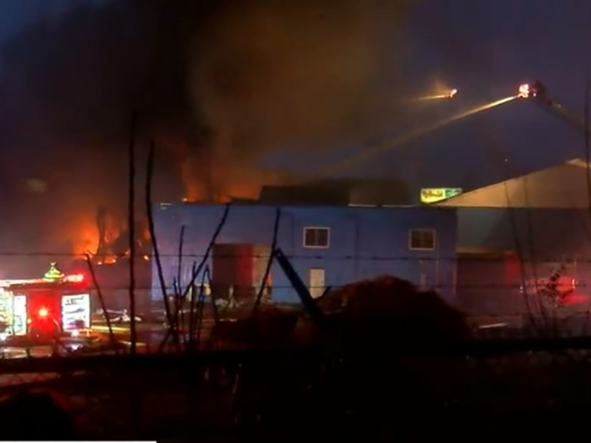 Crews battle massive fire at tire recycling plant in Richmond