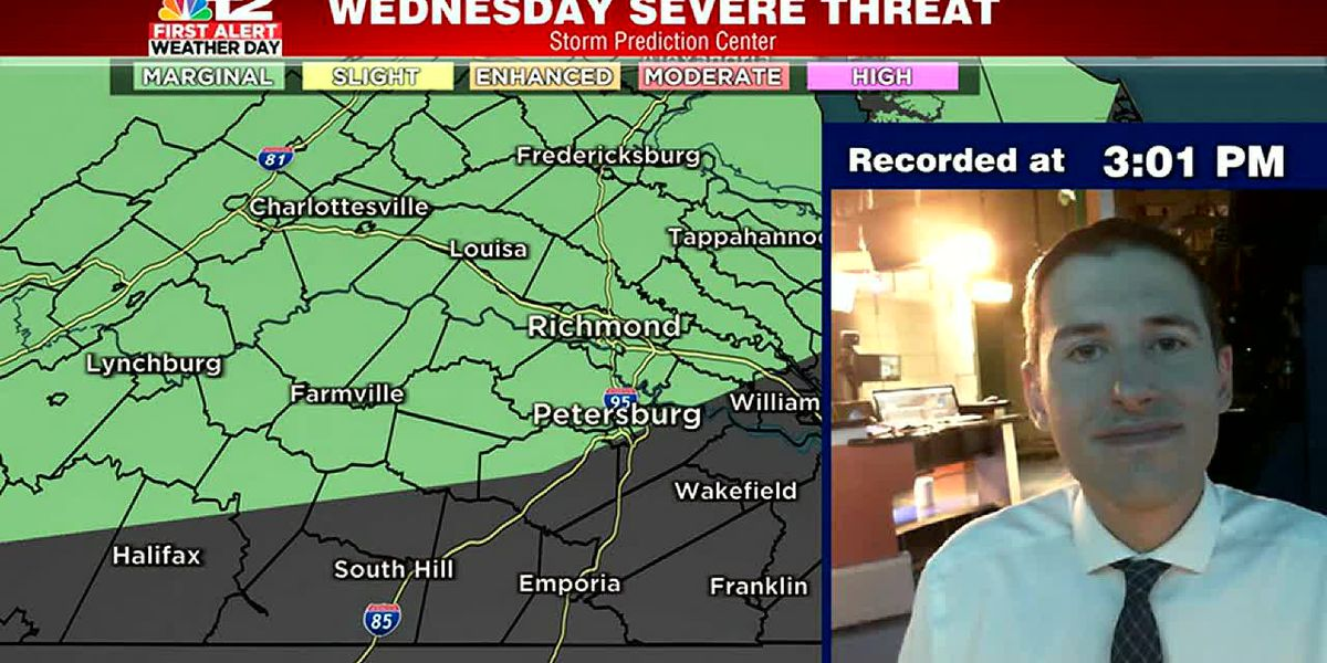 Low severe storm risk on Wednesday