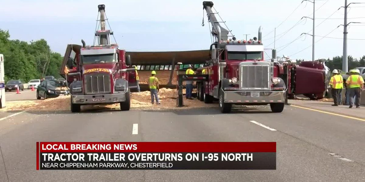 Tractor trailer overturns on I-95 North