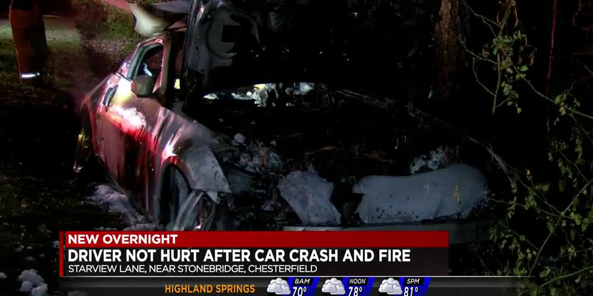 Car erupts in flames after crash in Chesterfield