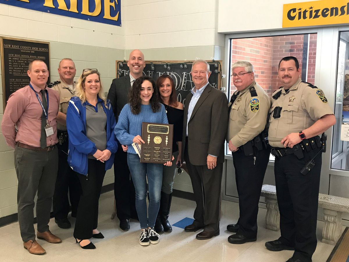 The New Kent Sheriff's Office present the Kip Kephart Foundation Citizenship Award winners