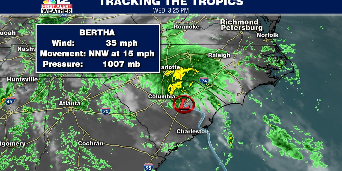Tropical Depression Bertha brings downpours in the Carolinas, parts of Virginia