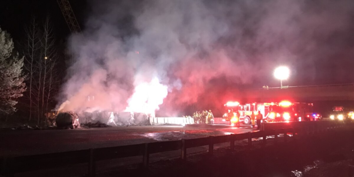 Mechanical issue causes tractor-trailer to catch fire on I-95