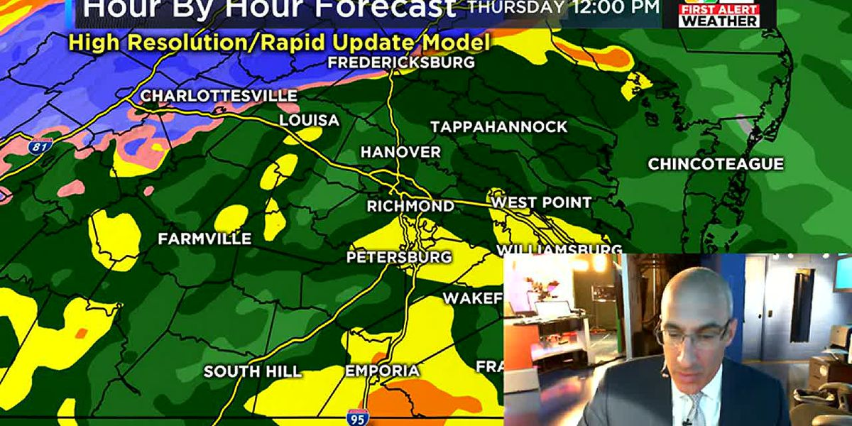 Heavy rain with an icy mix west of RVA