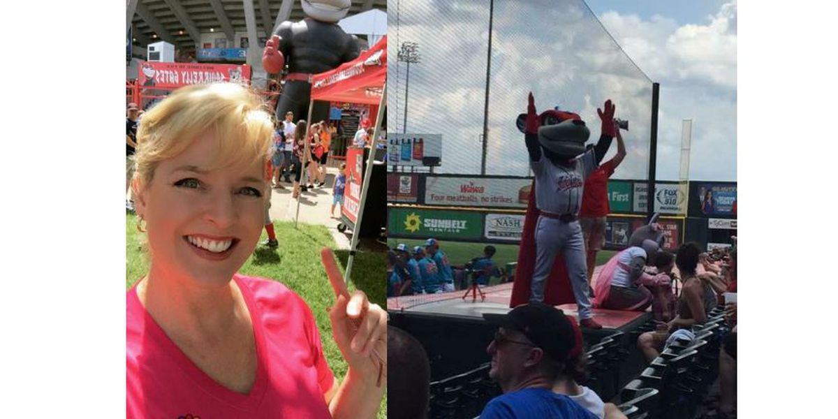 Heather Sullivan throws out first pitch at Flying Squirrels game
