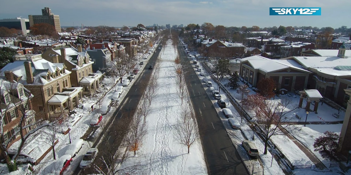 Winter wonderland: Snowy scenes of Richmond from above