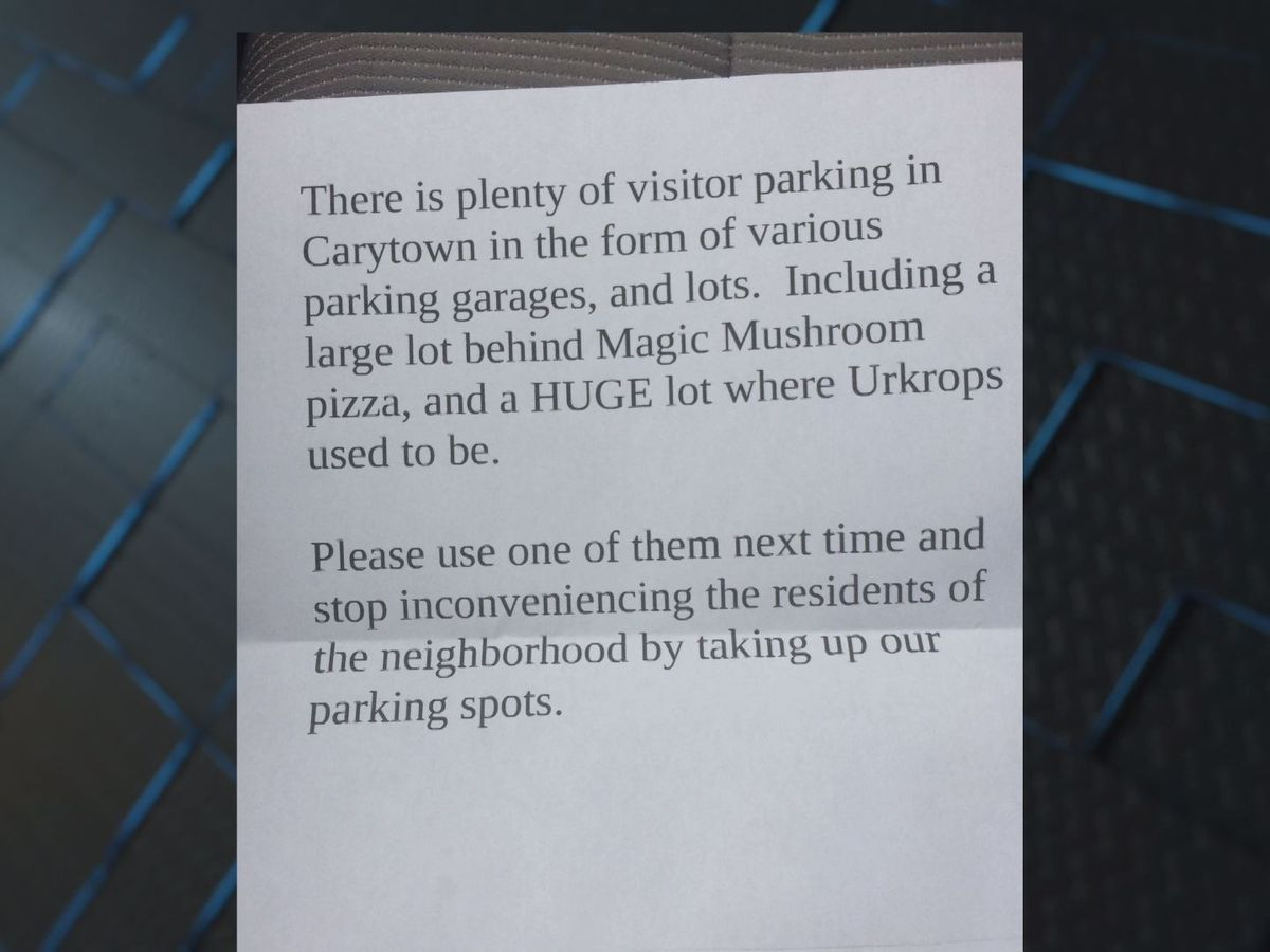 Carytown visitor receives sour note on windshield