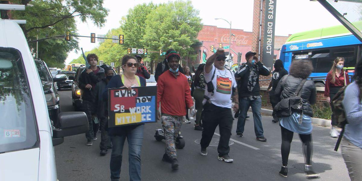 Student, community members protest school board's George Wythe High rebuild plan