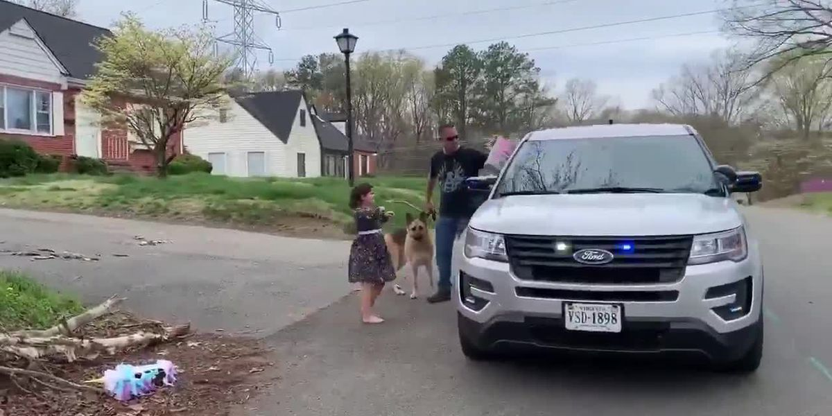 Henrico Police wish a 'Happy Birthday' while practicing social distancing