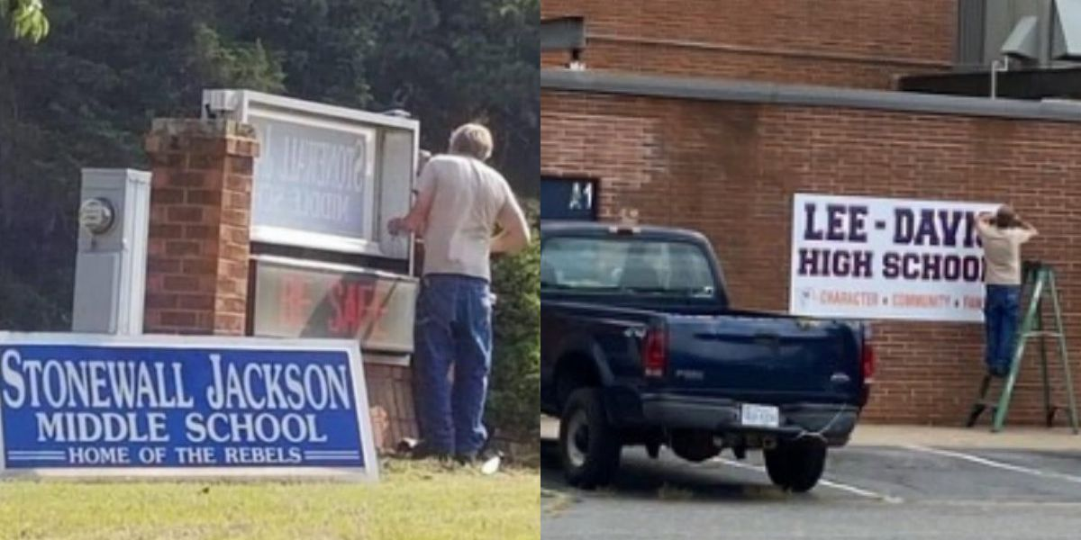 Crews remove Confederate generals' names from schools in Hanover