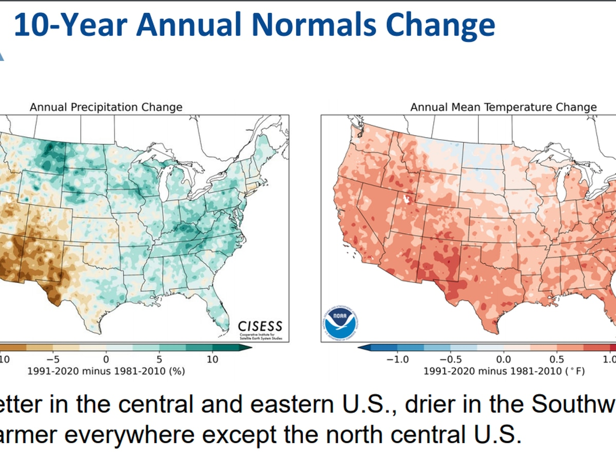 NOAA's once-a-decade update of climate averages shows trend toward warmer, wetter weather