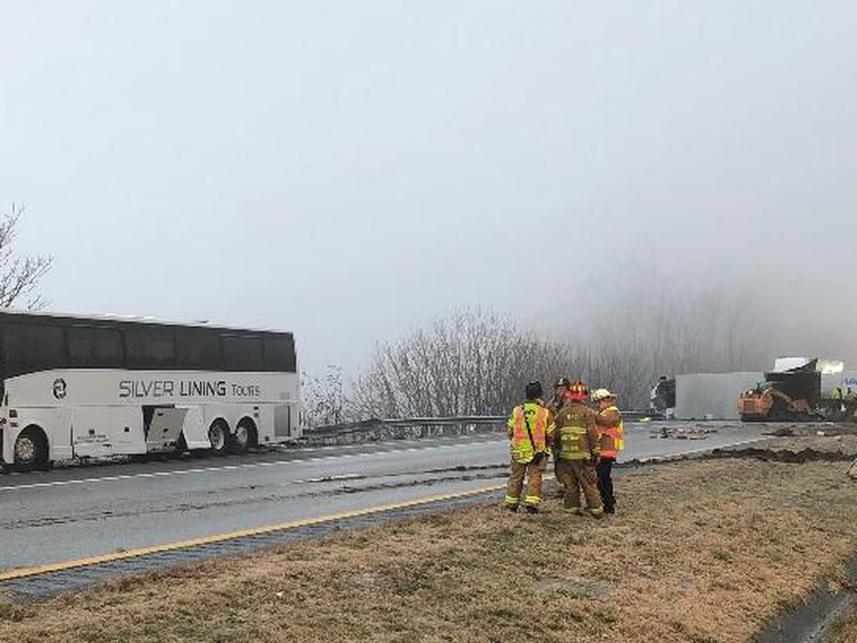 I-64 reopens after crash between bus and tractor-trailer injures at least 25