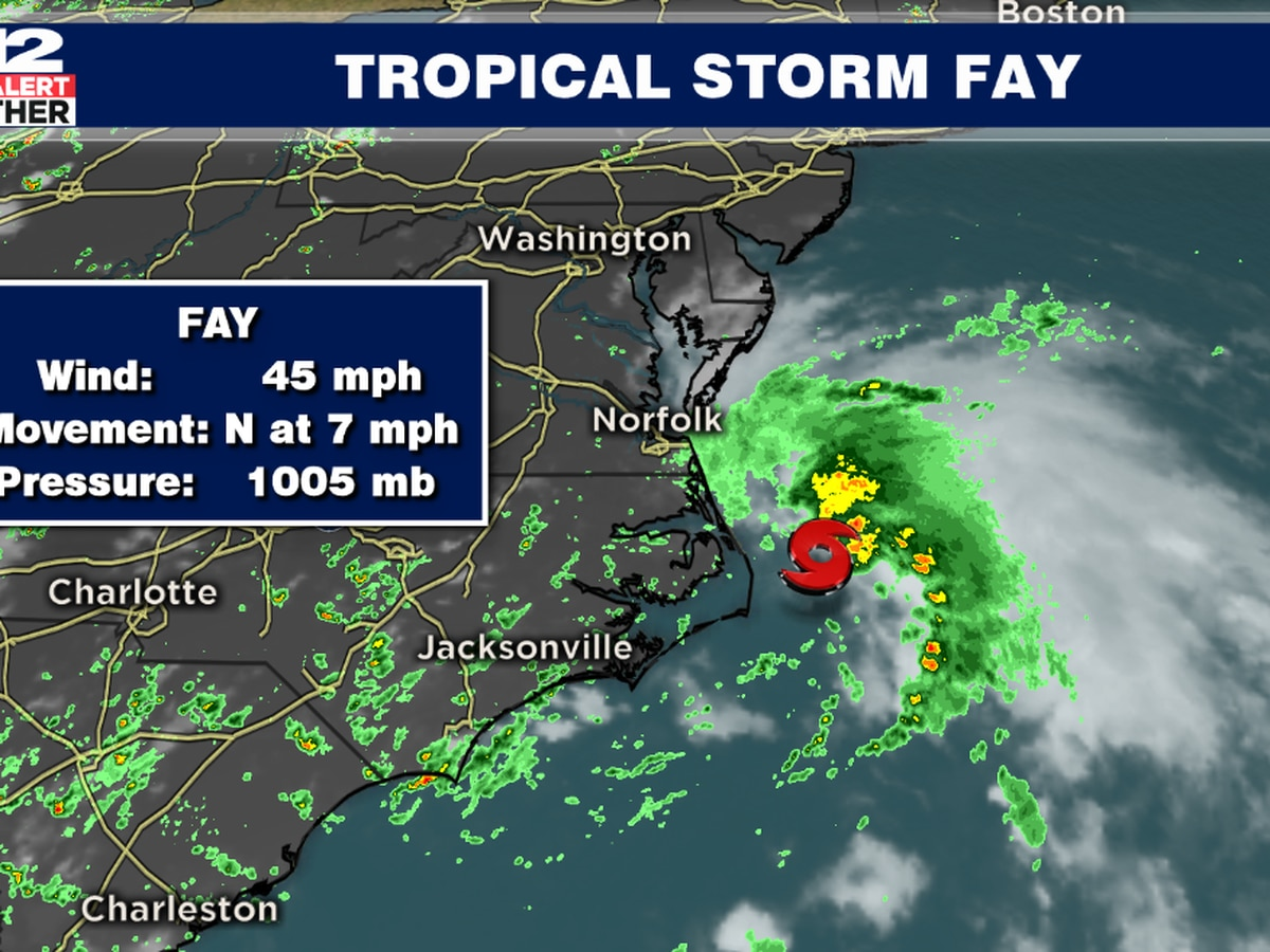 Tropical Storm Fay forms off the coast of North Carolina
