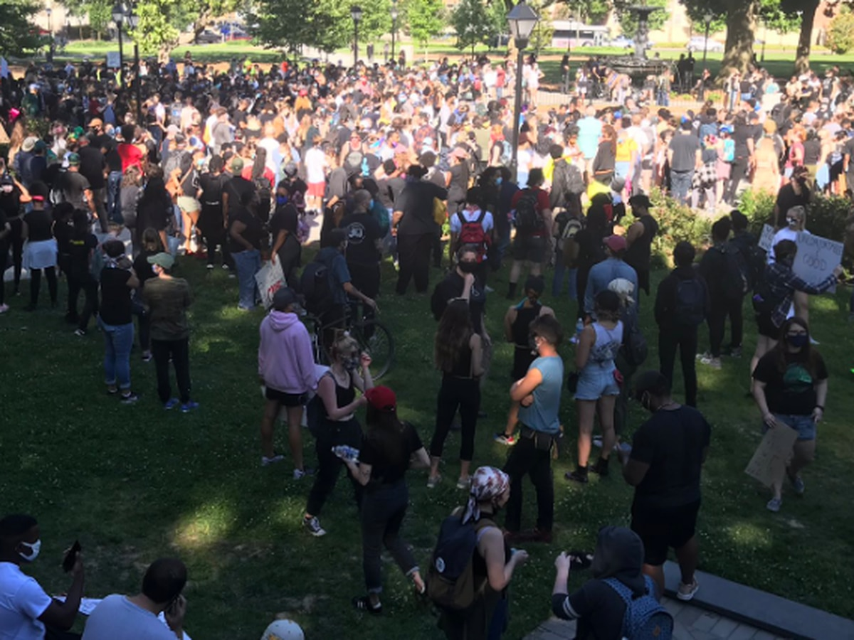 Protest underway at Monroe Park