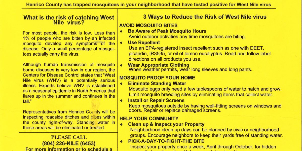 West Nile virus found in mosquitoes, neighbors notified
